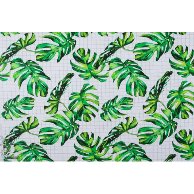 Sweat Bio french terry Leafy Grid feuille vert nature quadrillage graphique about blue fabric