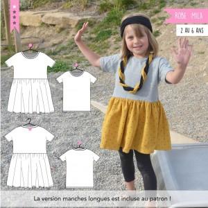 Patron Robe et T-shirt Mila 2 au 6 ans super bison enfant fille couture jersey facile