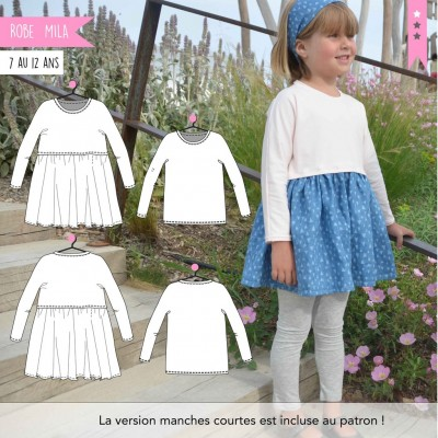 Patron Robe et T-shirt Mila 7 au 12 patron couture fille super bison