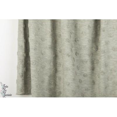 Jersey jacquard Stenzo texturé gris layette pastel chiné bébé pois