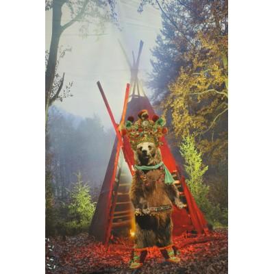 Panneau  Stenzo - ours chef indien jersey animaux enfant tipie digital