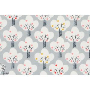 Popeline pommiers blanc sur fond gris, mori 1151, collection Mori Gils pour Dashwood Studio