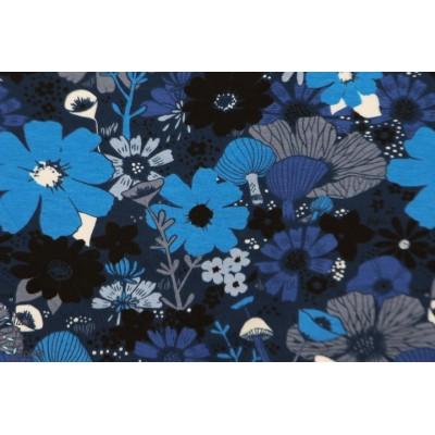 Jersey Cotton Steel BOUQUET MOODY Blue dress shop sarah watt fleur bleu