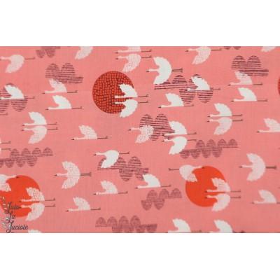 batiste cotton Steel 1000 cranes dusk oiseau ciel rose lune lawn femme