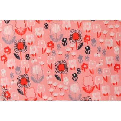 popeline Petites fleurs sur fond rose mori1147, collection mori girls dashwood studio