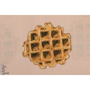 Coton Linon Waffle Rose Voilé -  See You at Six gaufre gateau rose design graphique moderne