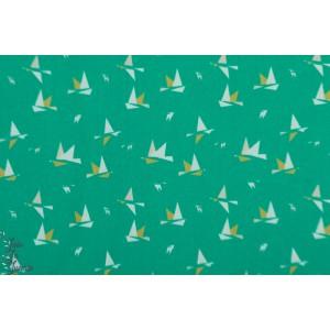 Popeline 1000 BIRDS oiseau graphique vert mcb madame casse bonbon