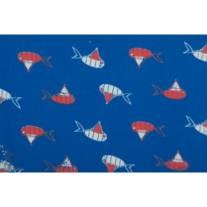 Popeline FISH&CLOWN Madame casse bonbon graphique poisson clown bleu