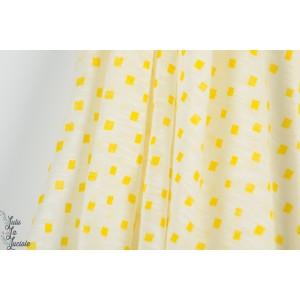 Voile C KELio carré fluo jaune graphique été polyester femme