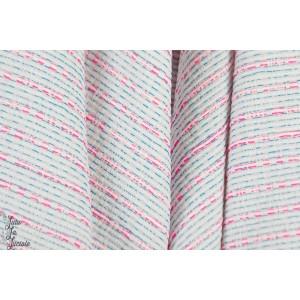 Jacquard jarck 3 ligne fluo rose rayure graphique été mode