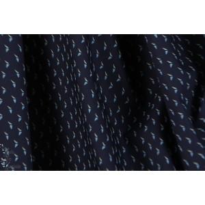 Popeline fine oiseaux graphique fond bleu marine chemise homme italie