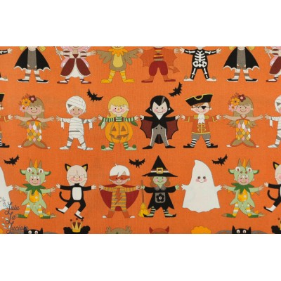 Popeline Alexander Henry You+Me Scary halloween fantome sorciere orange