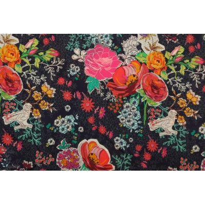 Voile Priory Square AGF V-210 batiste fleur graphique bleu art gallery fabric