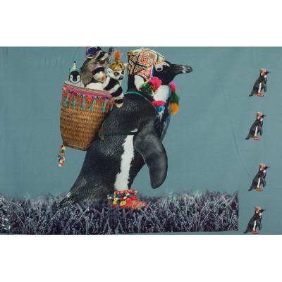 Panneau Jersey Pinguoin Sherpa bleu animaux bonnet hotte enfant stenzo
