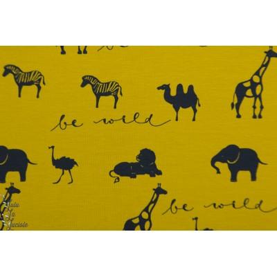 jersey Bio Be Wild Senf Lillestoff savane afrique animaux graphique moutarde