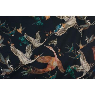 Batiste Bio Yari Cpauli - grues oiseau japon mode femme couture