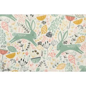 Popeline Dovestone DOVE1356 - rabbits white - lapin blanc  feena brooks dashwood studio