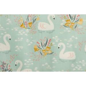 Popeline Dovestone DOVE1358 -Swans - Duck Egg - Dashwood Studio cygne