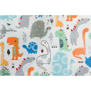 Popeline Playtime Dinosaures Bleu orange PLAY1391 Dashwood Studio