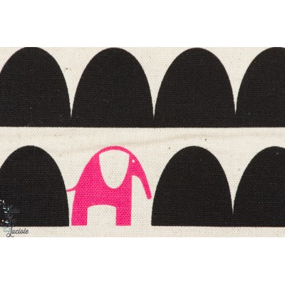 Tissu japonais Elephants rose par Ellen BAKER pour Kokka