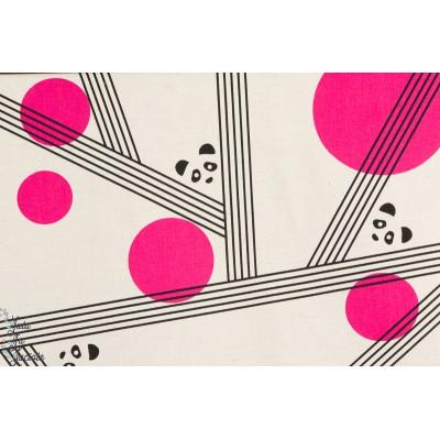 Tissu coton japonais Ellen Baker pour Kokka : PANDA & PINK SPOTS PARALLELS