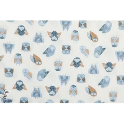 Popeline Dear Stella Owl chouette hibou graphique plaid patch enfant animaux oiseau