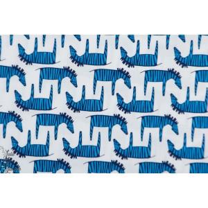 Popeline Michael Miller Zébres bleu treckiing graphique afrique plaid patch bleu enfant garçon