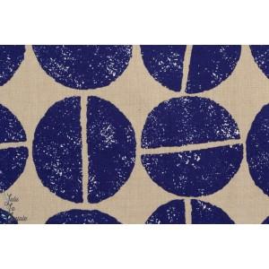 Tissu japonais ,Gros grain de café bleu par kokka
