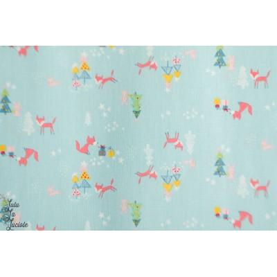 Popeline Winter Tales Foxes and tree arbre renard noel riley blake animaux