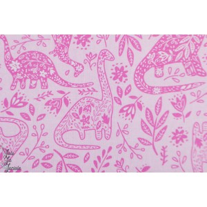Popeline Windham Dino rose fille patch coton enfant animaux