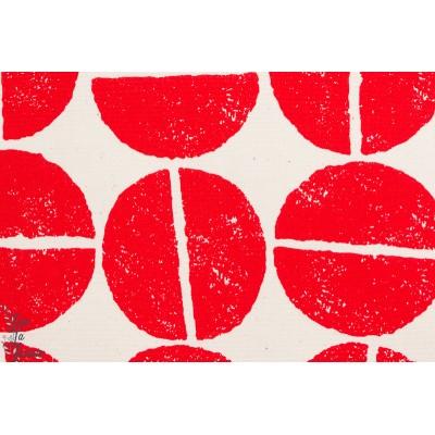 Tissu coton japonais Gros grain de café Rouge par kokka
