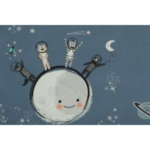 Popeline AGF Spatial Friends espace animaux lune terre stargazer