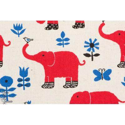 Tissu coton japonais Elephants aux naturel par Kokka