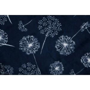Minky Wish -dandelion bleu vegetal graphique fleur pissenlit velours bleu