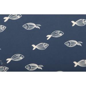 Tissu Dessins de poissons polyester mer graphique bleu