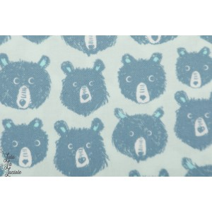 Flanelle Teddy And The Bears Blue Cotton Steel