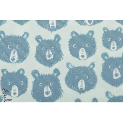 Flanelle Teddy And The Bears Blue ours graphique cotton steel