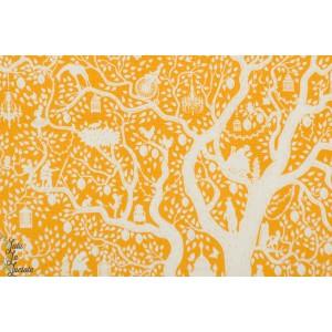 "Popeline Tilda ''arbre de vie"" jaune patch coton nature"
