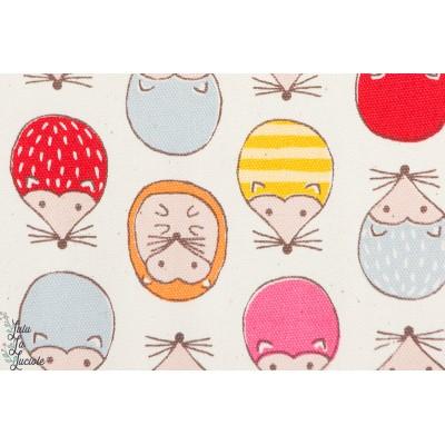 Tissu coton japonais Hérissons Colorés fond Blanc KOKKA