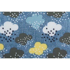 Softshell Nuages fond bleu manteau imper polaire graphique cloud
