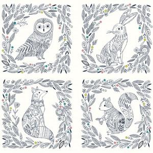 Popeline Dashwood BOHO MEADOW 1372 panneau animaux chouette lapîn renard écureuil
