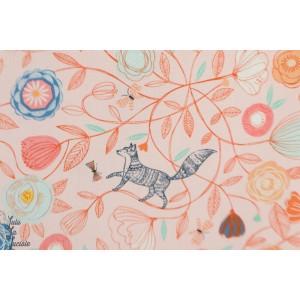 Popeline Boho Meadow 1376 nature renard animaux rose lapin oiseau bethan janine