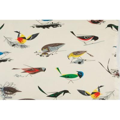 Popeline Bio Birds Charly Harper très grande Laize birch fabric patch oiseau