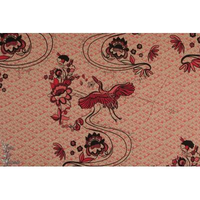 Modal Felicita Lillestoff japonisant femme mode rose rouge japon grue oiseau