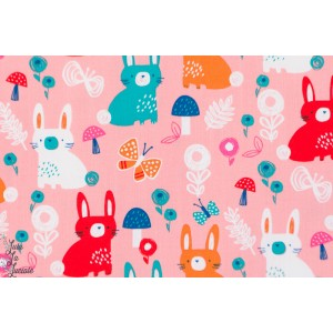 Popeline Bunny  lapins 1123 collection Secret garden de Wendy Kendals pour Dashwood Studio.