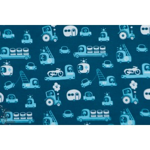 Jersey bio On Wheels blue lillestoff voiture,vehicule camion auton enfant,retro graphique garçon