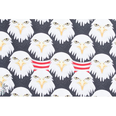 "Tissu coton Jersey Bio ''Eager Eagle"" Aigles Hambuger Liebe"