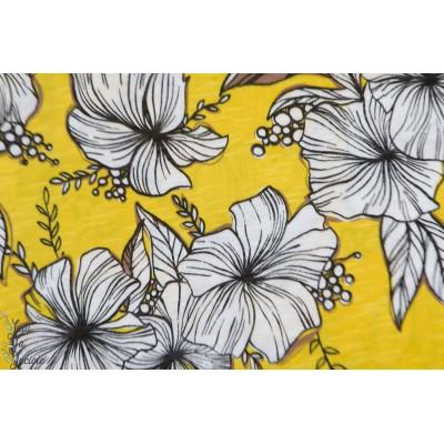 Salomé Slubjersey Bio Lillestoff fleur mode femme jaune
