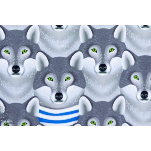 "tissu coton bio Jersey Bio ""Wild Wolf"", Loup, collection be wild de Hambuger liebe pour Hilco"