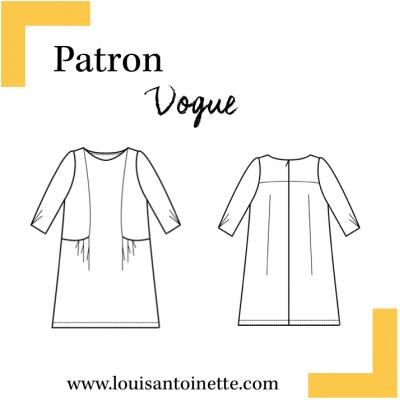 Patron couture  robe VOGUE, femme, Louis et Antoinette, mode,moderne,